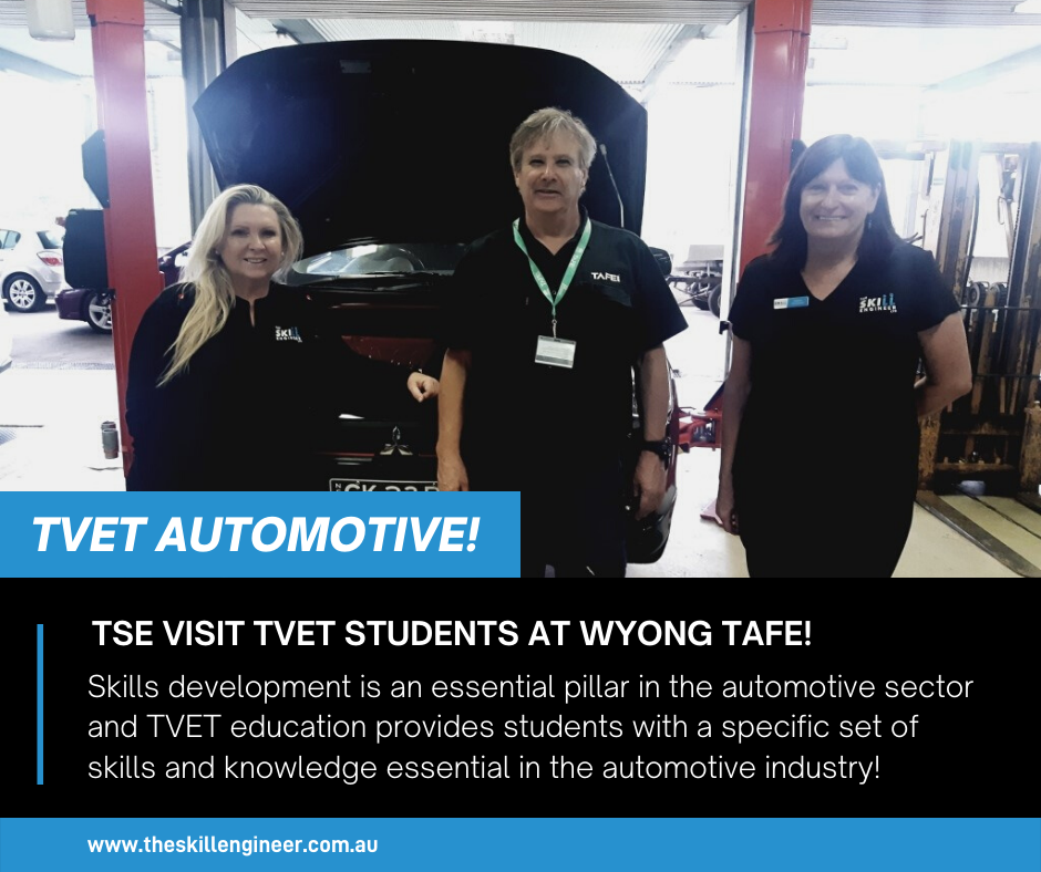 TSE staff Jane and Debbie, with Steve, Yr 11 Automotive Teacher at Wyong TAFE.